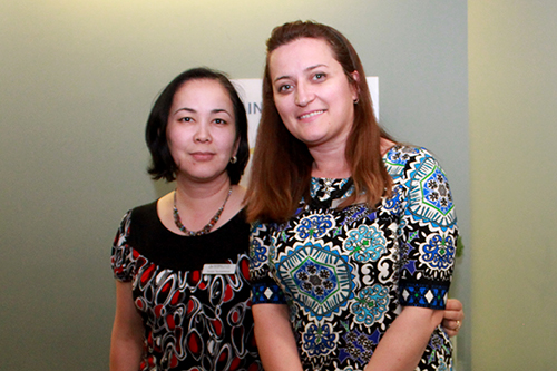 Gulya Taubaldieva (left) with DCC receptionist, Fitore Bajraktari, at our Annual General Meeting on May 10th, 2017.