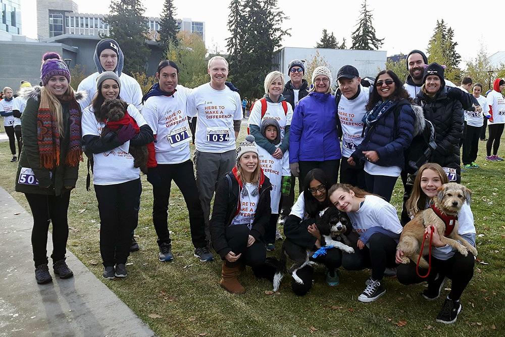 Distress Centre team at the 2017 Outrun the Stigma in Calgary Alberta. A run/walk for mental health.