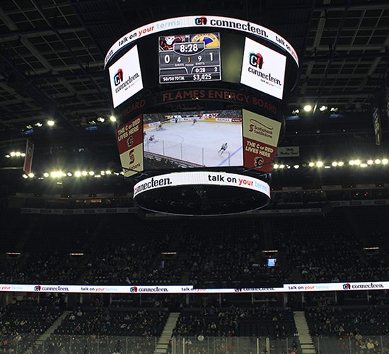 ConnecTeen on the jumbotron at the Calgary Hitmen game