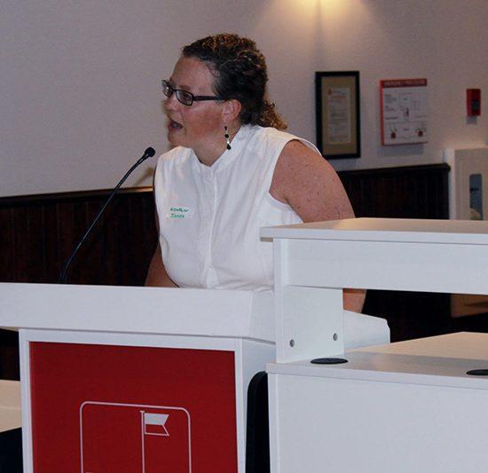 Heather Innes speaks at Distress Centre's Volunteer Impact Event