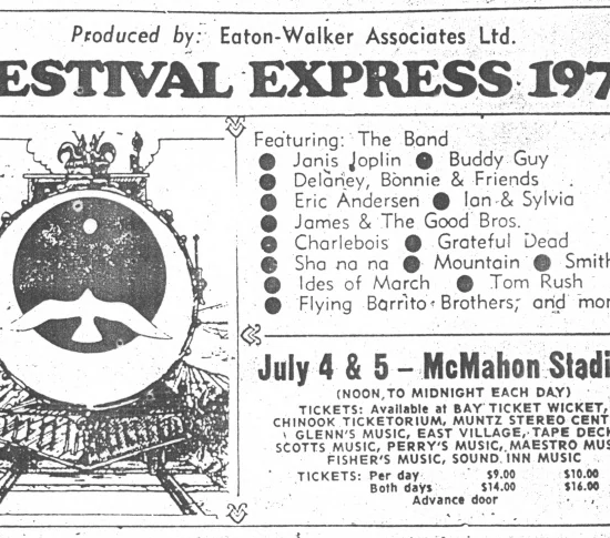 img des: An ad for Festival Express showing a black and white image of a train with text describing the event.
