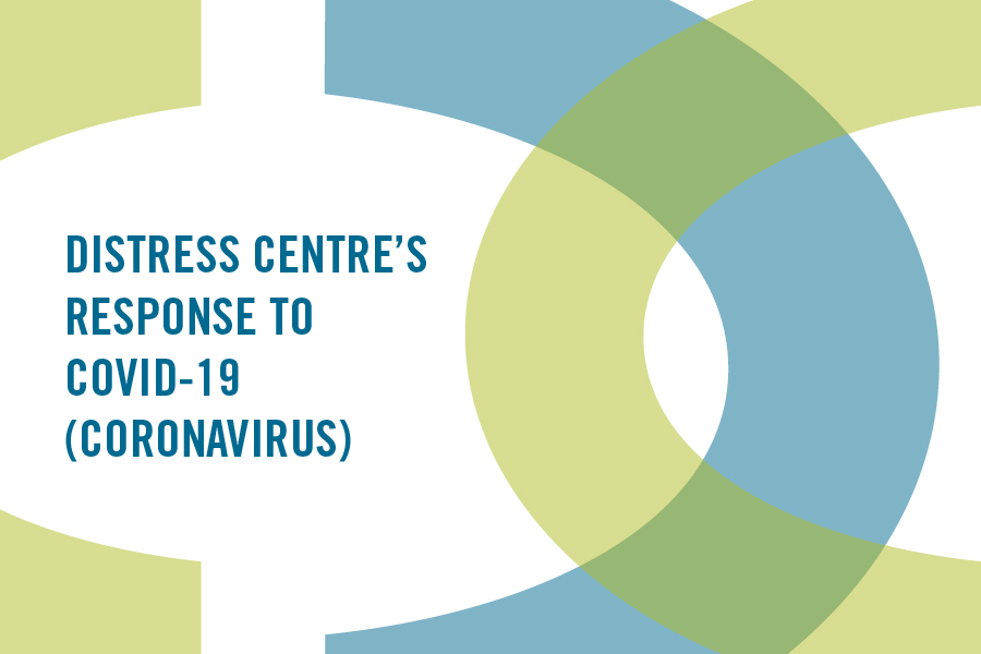 img text: Distress Centre's response to COVID-19 (coronavirus)