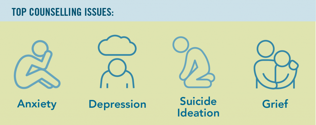 img text: top counselling issues - anxiety, depression, suicide ideation, grief