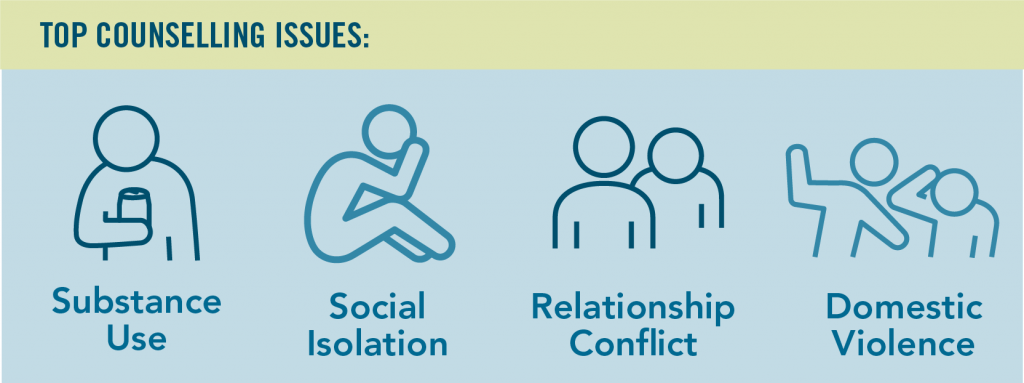 img text: Top counselling issues - substance use, social isolation, relationship conflict, domestic violence