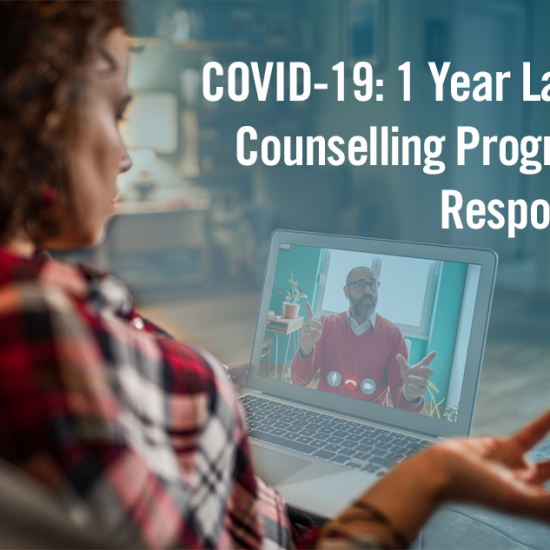 img text: COVID-19: 1 Year Later Counselling Program Response img des: Person talking to a counsellor via Zoom.