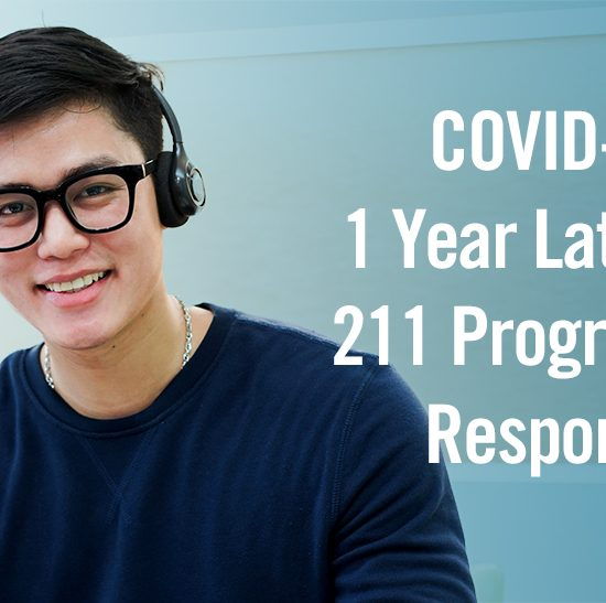 img text: COVID-19 1 Year Later: 211 Program Response img des: Man wearing a headset and smiling