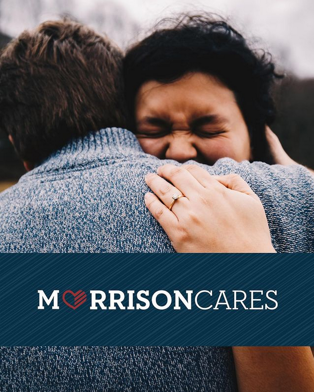 img text: MorrisonCares img des: Two people hugging