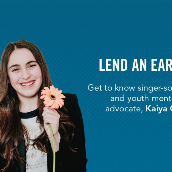 img des: Kaiya holding a flower. img text: Lend An Ear 2021 - Get to know singer-songwriter and youth mental health advocate